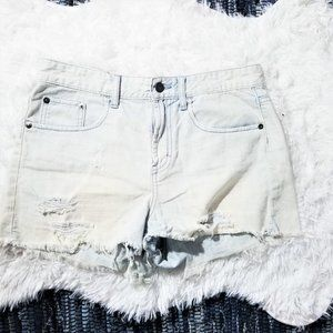 BP High Waist Light Washed Distressed Shorts